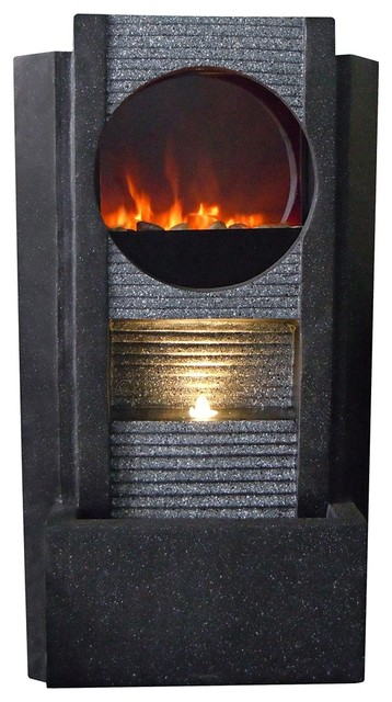 Ultra Fire Outdoor Led Fireplace Fountain Contemporary