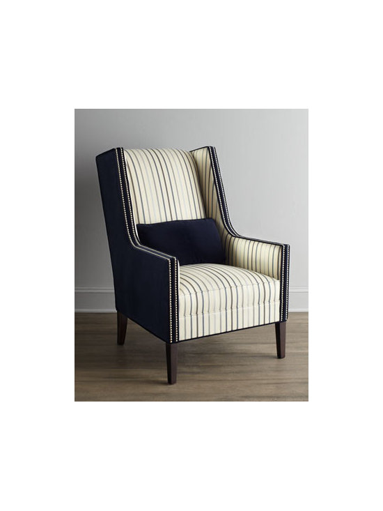 Horchow - Valerie Chair - Exclusively ours. A handsome combination of stripes and midnight navy blue upholstery, this striking square-armed wing chair features tall, tapered legs and elegant nailhead trim. Also available in solid midnight navy blue. Select color when ordering....