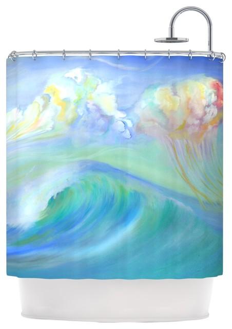 Theresa Giolzetti Jelly Fish Blue Teal Shower Curtain Beach Sty