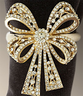 Bows Gold and Platinum Swarovski Napkins Rings Gift traditional napkin rings
