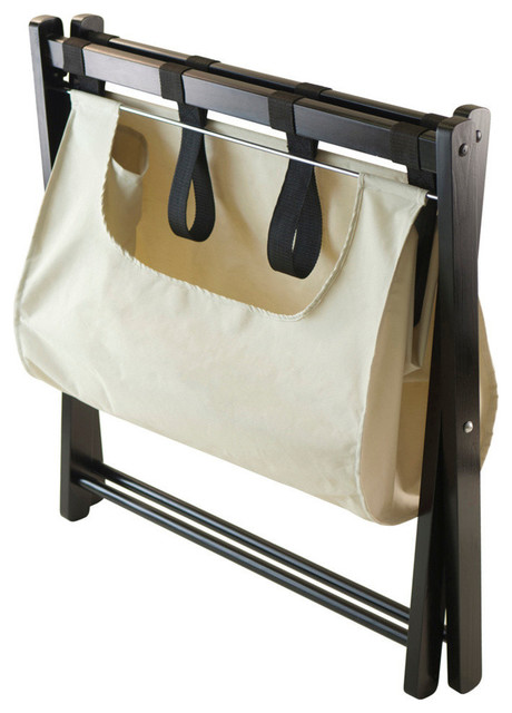 Winsome Wood Dora Luggage Rack w/ Removable Fabric Basket contemporary-storage-and-organization