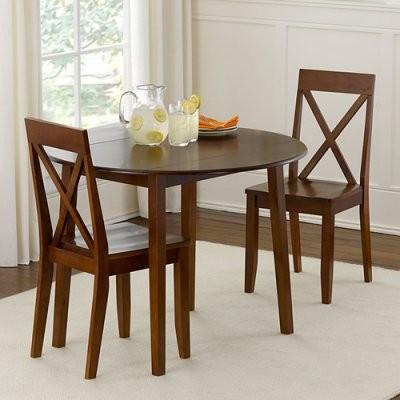 Linon Urban 3 pc. Drop Leaf Walnut Small Dining Set modern-dining-tables
