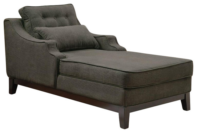Coaster upholstered grey chaise in black finish for Black chaise lounge indoor