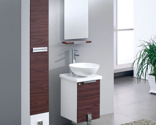 Fresca - Fresca Adour 16 Dark Walnut Modern Bathroom Vanity w/ Mirror - Supplied complete with the mirror, the Adour 16 free standing vanity from Fresca features a neat, compact design and a stylish Dark Walnut finish for a touch of luxury. Perfect for a small bathroom, this durable vanity with soft close door provides a superb storage solution for toiletries. The vanity also comes complete with the ceramic countertop sink, which adds a touch of chic, contemporary style Adour Bathroom Vanity Details:   Dimensions: Vanity:W 16 x D 16 x H 34.25; Mirror: 15.75W x 27.5H Material: MDF with Ceramic Countertop/Sink with Overflow Soft Closing Doors Single hole faucet mount Finish: Dark Walnut Includes mirror Please note: faucet not included
