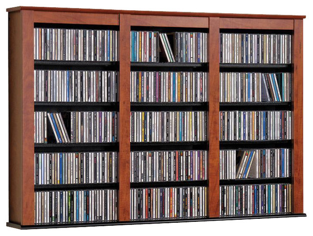 Prepac Triple Cherry and Black Wall Mounted Multimedia Storage traditional-media-storage