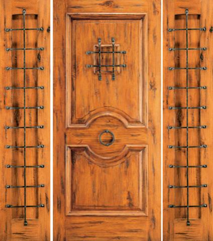 Exterior Prehung Door with Two Sidelites, Knotty Alder, Speakeasy rustic-front-doors