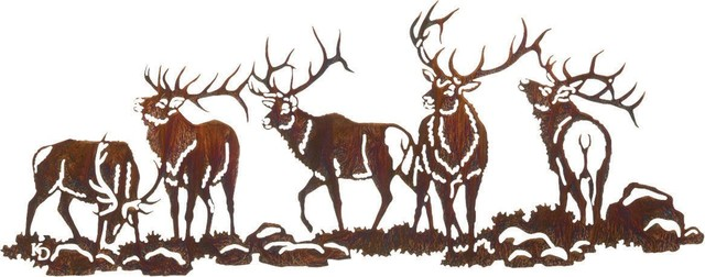 Boys Night Out Elk Wildlife Metal Over Door Hanger rustic-artwork