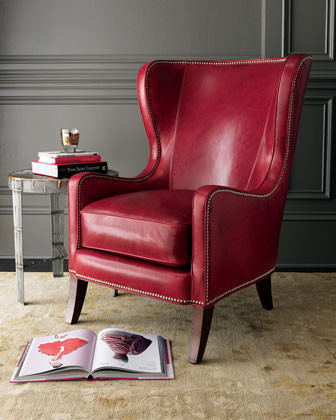 Massoud Red Leather Chair traditional-living-room-chairs