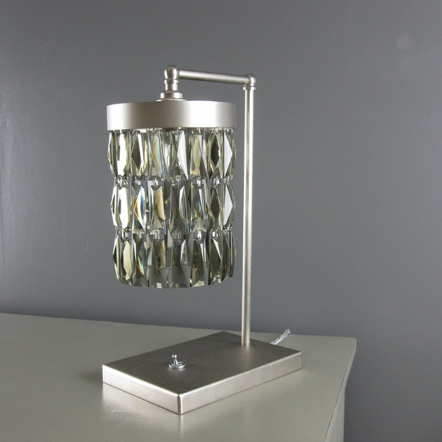 Smoke Crystal/Flat Nickel Table Lamp table-lamps