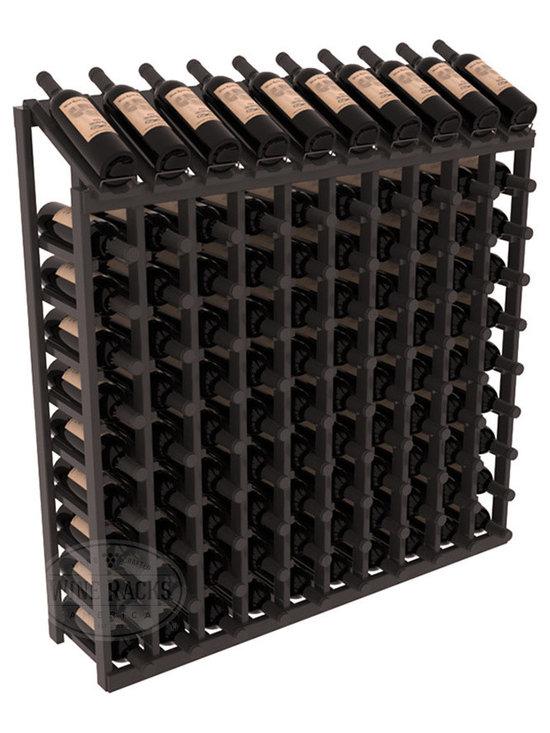 Wine Racks America - 100 Bottle Display Top Wine Rack, Black Stain + Satin Finish - Make your top 10 vintages focal points of your cellar or store. Our wine cellar kits are constructed to industry-leading standards. You'll be satisfied. We guarantee it. Display top wine racks offer ample storage below a presentation row. Great as a stand alone unit or paired with other modular racks from our product lineup.