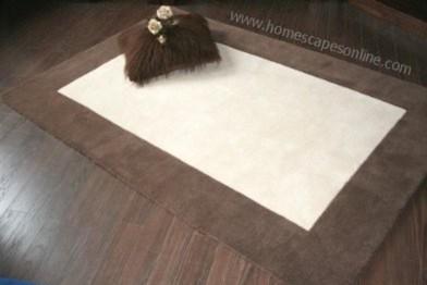 Wool Rug With Tufted Border Chocolate & Cream modern-rugs