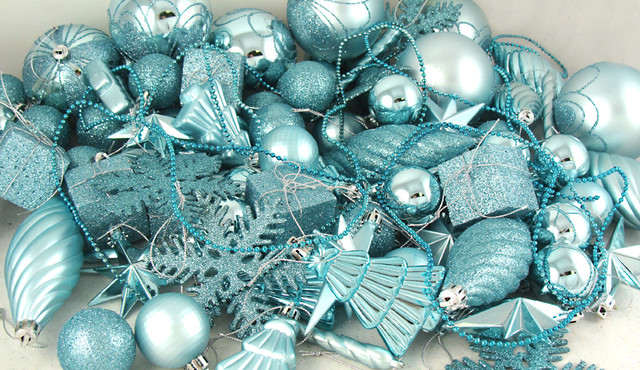 125-Piece Club Pack of Shatterproof Mermaid Blue Christmas Ornaments modern holiday decorations
