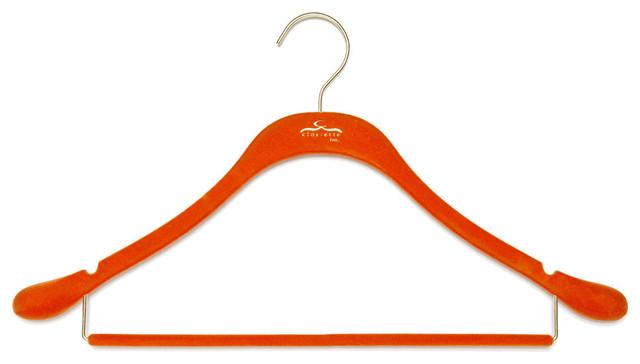 Signature Slim Coat Hanger w/ Bar, Orange w/ Brass contemporary-wall-hooks