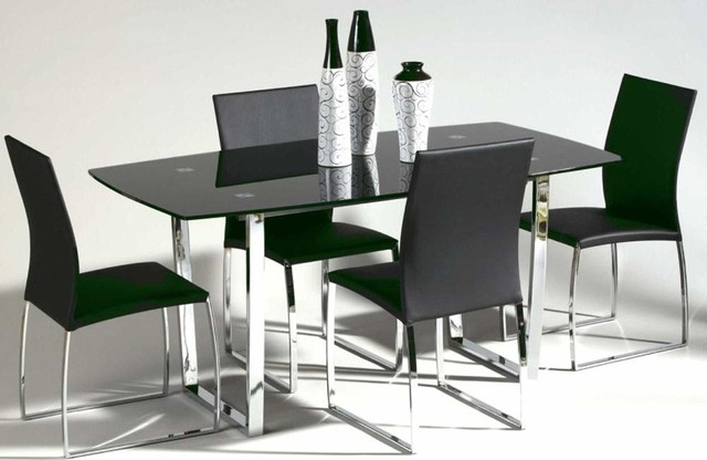Metal And Glass Top Leather Dining Room Design Contemporary Dining