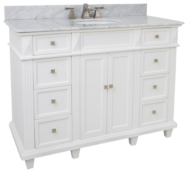 48 Inch Bathroom Vanity With White Marble Top 48 inch white marble ...