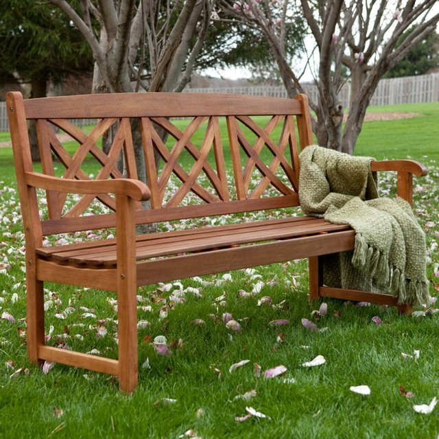 Magnolia 5 Ft Wood Garden Bench Contemporary Outdoor Benches By Hayneedle