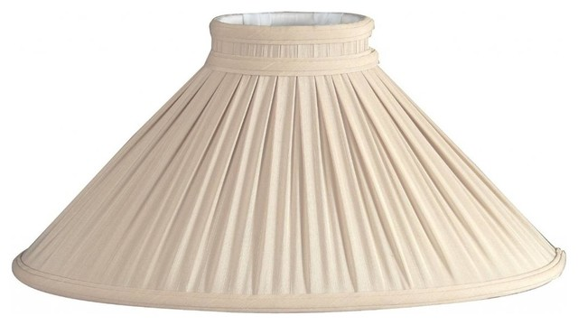 Beige Chimney Pleated Oval Designer Lampshade traditional-lamp-shades
