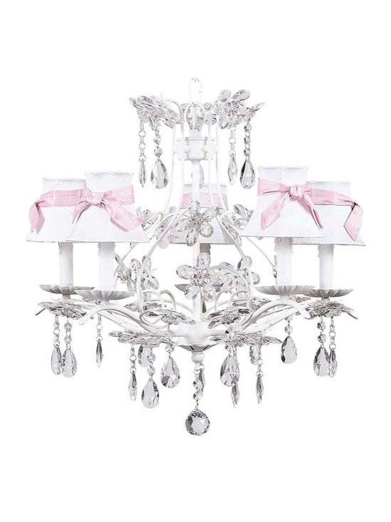 White Cinderella Chandelier w/White Shades & Pink Sashes - 5 Arm White Cinderella chandelier with white shades and pink sashes.