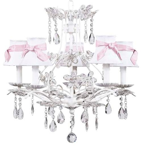 White Cinderella Chandelier w/White Shades & Pink Sashes eclectic-chandeliers