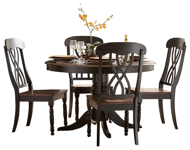 Homelegance Ohana Round Pedestal Dining Table In Black And