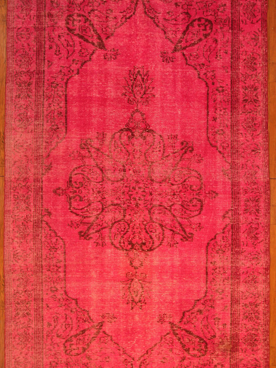 Hot Pink Overdyed Rug - Rich color with hints of underlying pattern revive well-loved vintage Turkish carpets into a truly fabulous area rug.