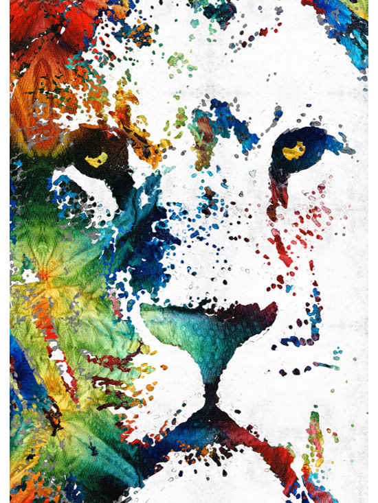 Animals, Fish and Birds - Colorful Lion Art By Sharon Cummings