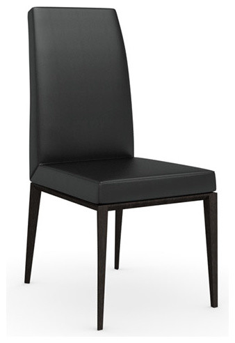 Bess Gummy Leather Chair, Wenge Legs, Black, Set of 2 modern-dining-chairs