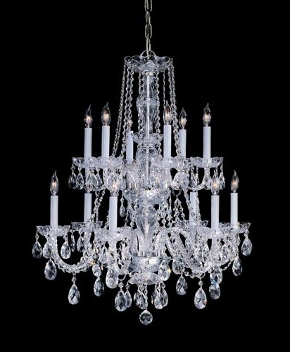 Traditional Crystal Swarovski Strass Crystal Polished Brass Six-Light Chandelier traditional-chandeliers