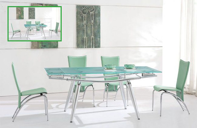 extendable rectangular frosted glass top modern dining set