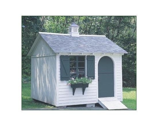 "10 x 10 Building - This equal pitch roof building has an Arched dutch door with spring lock and thumb latch. Easy access door ramp and special architectural roof shingles. Clapboard siding, front only, as well as Board and Batten siding on three sides. 16"" Brittany cupola. Stained white with special trim color."