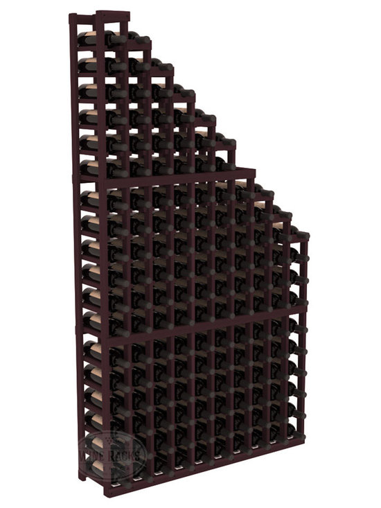 Wine Cellar Waterfall Display Kit in Redwood with Burgundy Stain - A beautiful cascading waterfall of wine bottle displays. Create a spectacle of 9 of your favorite vintages. Designed within our modular specifications and to Wine Racks America's superior product standards, you'll be satisfied. We guarantee it.