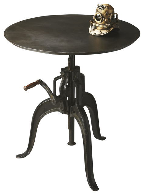 Adjustable Industrial Dark Iron Crank Bar Table