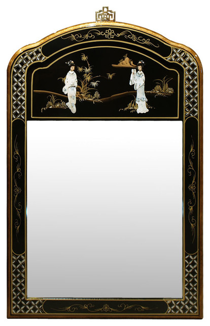 Black lacquer mother of pearl mirror asian wall for Asian style mirror