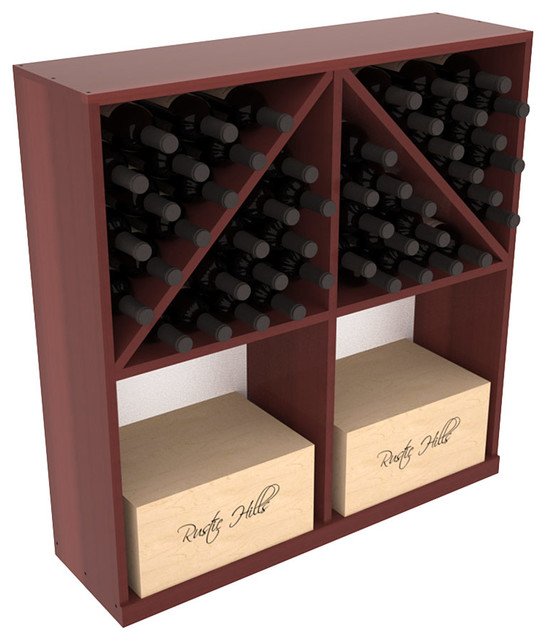 Solid Case/Bottle Storage Bin in Redwood, Cherry + Satin Finish contemporary-wine-racks