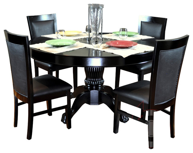 BBO Poker The Nighthawk Round Poker Table Set BLK-SS traditional-game-tables
