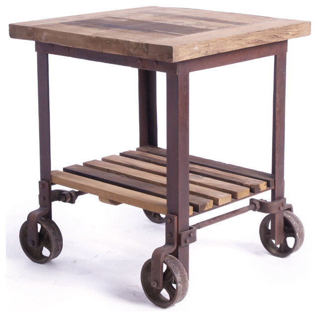 Sudbury Reclaimed Wood Industrial Cart End Side Table traditional-kitchen-islands-and-kitchen-carts