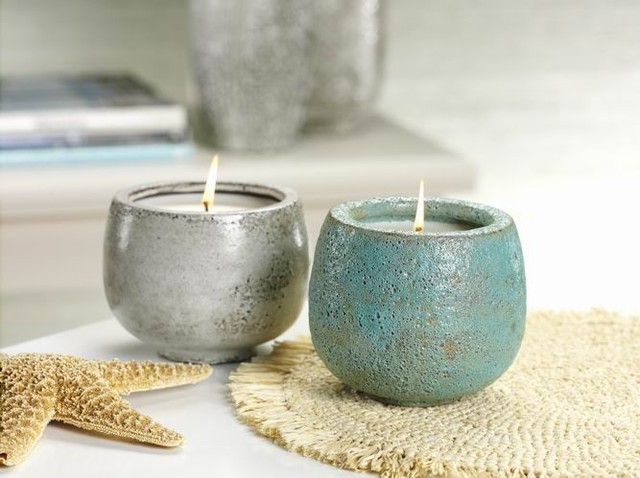 Aegean Sea Volcanic White Ceramic Scented Candle Jar eclectic candles and candle holders