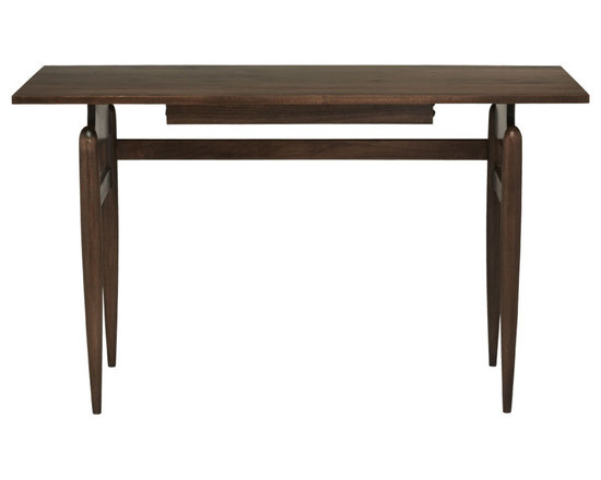 Rejuvenation: Entry - Mid-century and eco-friendly – this desk offers style and substance. Each piece is handcrafted in Oregon using only sustainably harvested wood: beautifully grained maple with a deep Walnut stain. The desk's slender, tapered legs and discreet center drawer create the impression that the smooth top is almost floating, making this a sprightly showpiece in any study, entrance hall, or bedroom.