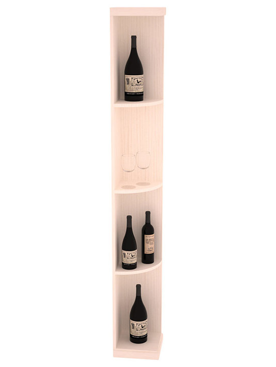 Quarter Round Wine Display in Pine with White Wash Stain - Highly decorative Quarter Round Wine Displays are the perfect solution to racking around corners. Designed with a priority on functionality, these wine storage units are excellent as end caps to walls of wine racking or as standalone shelving.