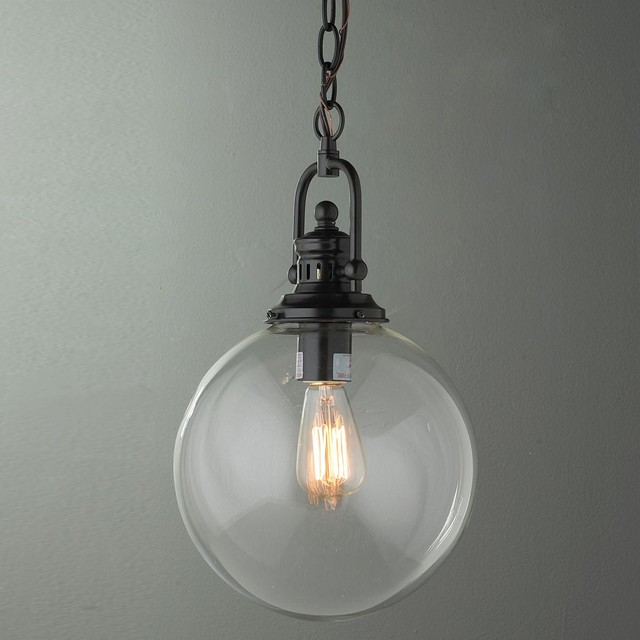 Clear Glass Globe Industrial Pendant 2 Finishes!