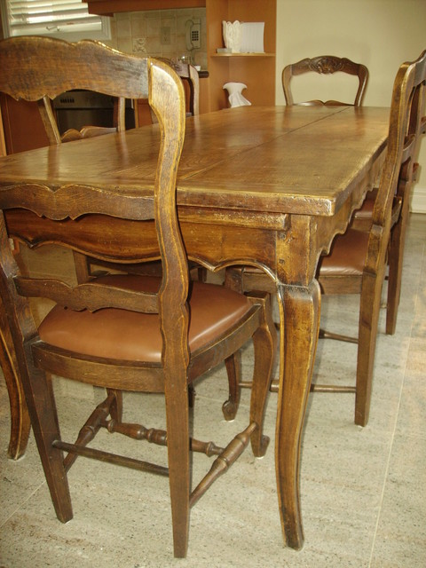 Chairs For Kitchen Tables: Antique Provençal French Country Table With Six Chairs