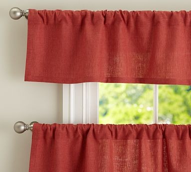 Emery Linen Cafe Curtain 50 X 24 Terra Red Traditional Curtains By Pottery Barn