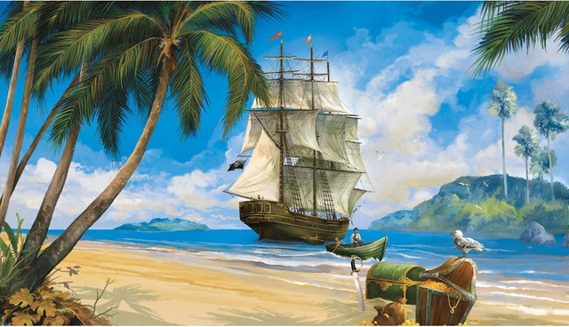 pirates ship treasure giant wallpaper accent mural pirate theme wall murals examples of pirate wall murals