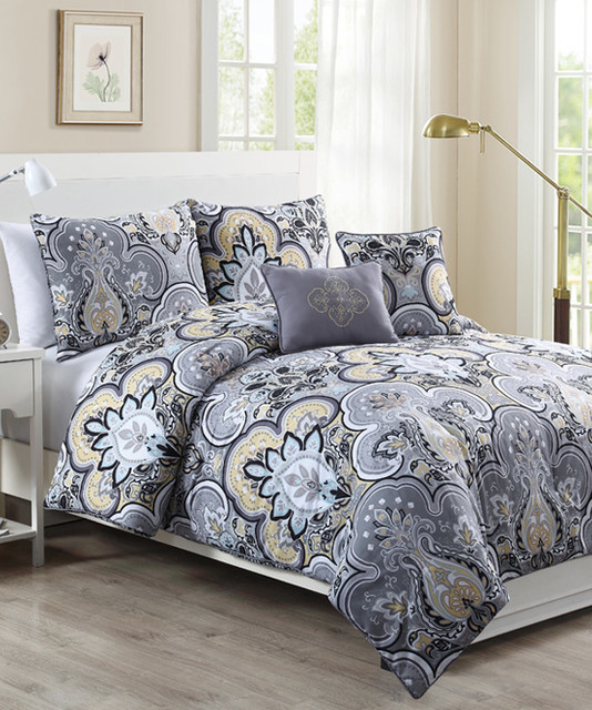 yellow gray chester comforter set contemporary. Black Bedroom Furniture Sets. Home Design Ideas