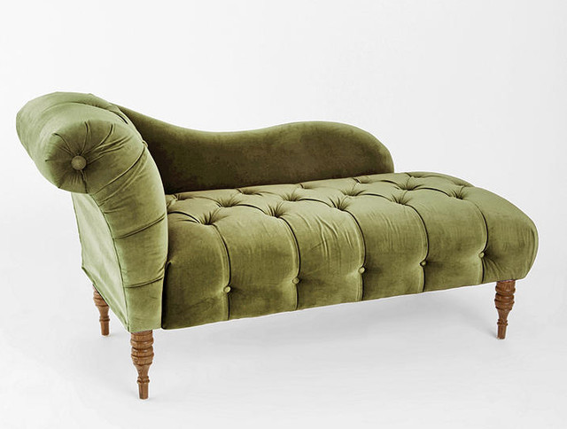 Edie velvet chaise green victorian indoor chaise for Chaise urban but