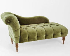 Edie Velvet Chaise, Green traditional-day-beds-and-chaises