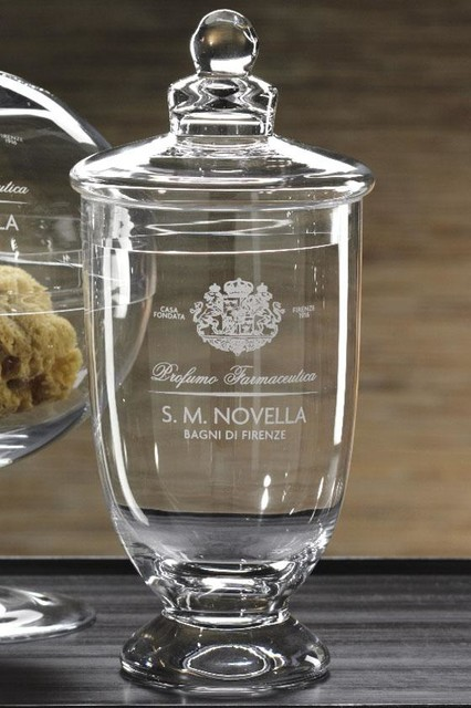Novella Glass Jar with Lid - Traditional - Bathroom Canisters