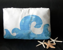 Waves Poolside Pillow painted blue lumbar headrest eclectic outdoor pillows