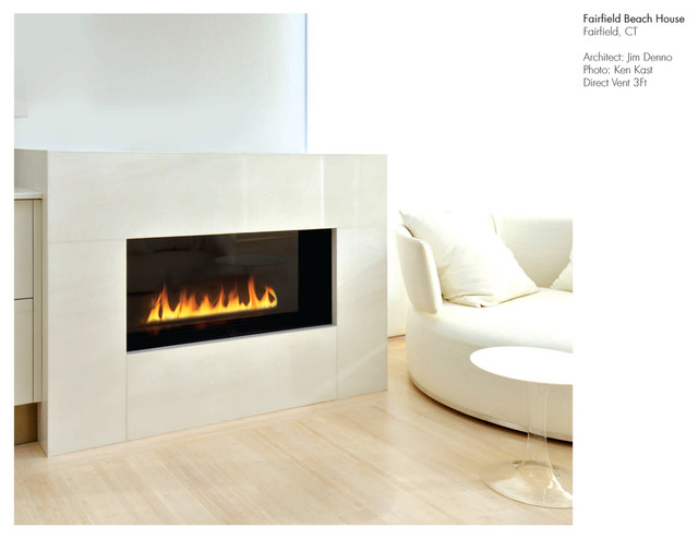 Spark Modern Fires - Fire Ribbon Direct Vent 3 ft, Model 87, With Safety Screen, modern-indoor-fireplaces