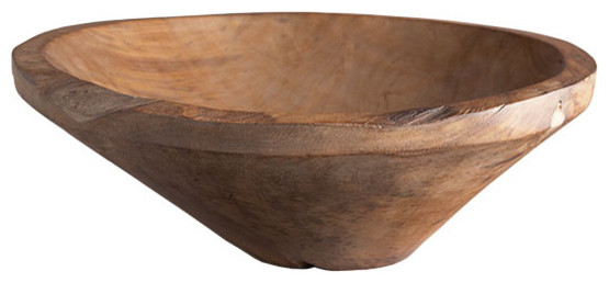 Hand-Turned Solid Wooden Bowl traditional-serveware